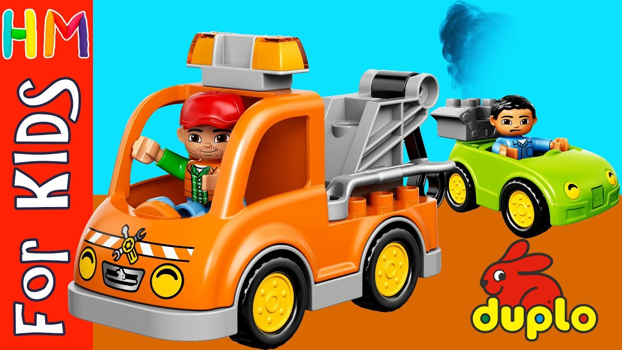 Lego Duplo Tow Truck Helps Car Cartoon Sets 10814 Toy Review Video