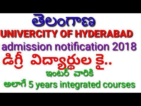 telangana university of hyderabad admissions notification2018