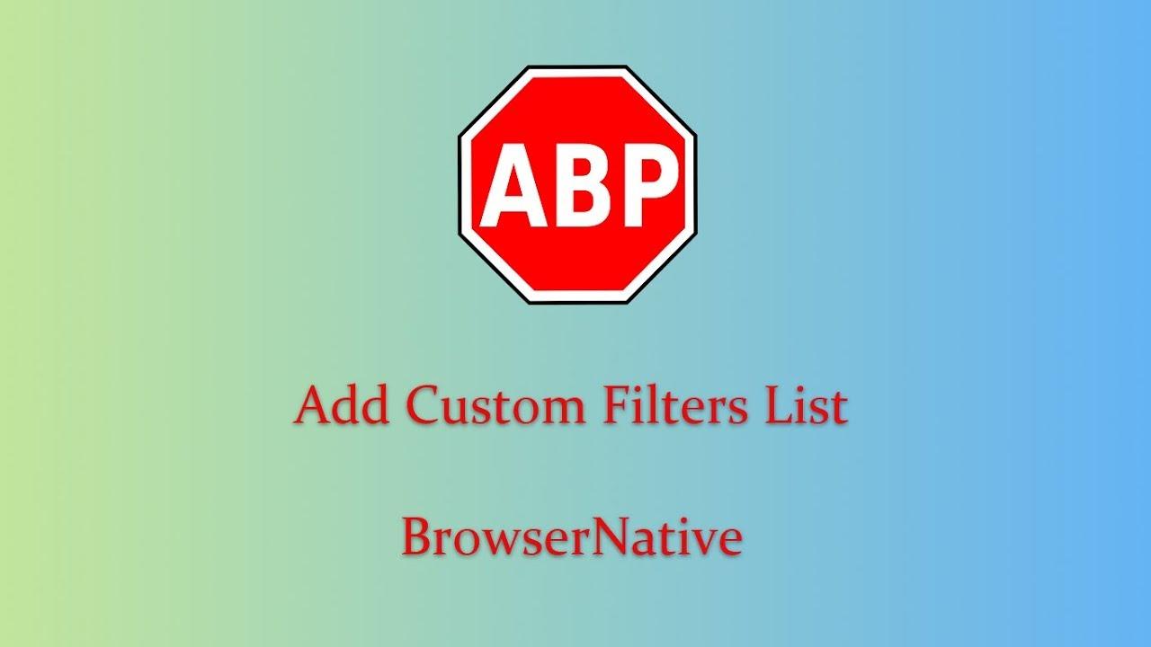 Adblock Plus : Add Filters List