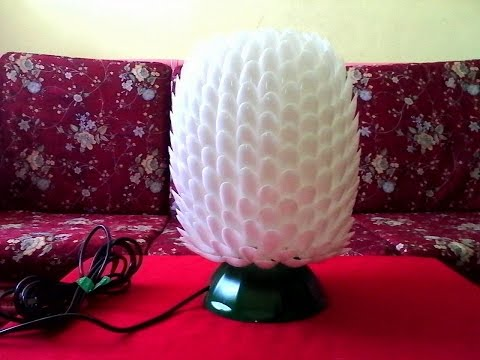 DIY#7 LAMPSHADE MADE OF RECYCLED PLASTIC SPOONS & BOTTLE