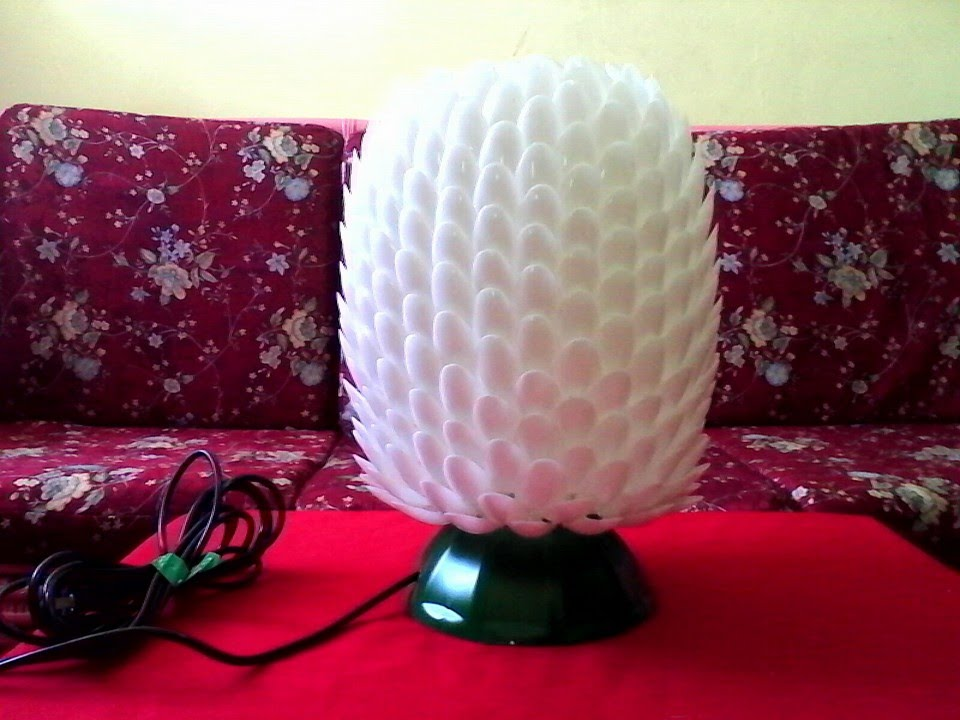 DIY# 7 LAMPSHADE MADE OF RECYCLED PLASTIC SPOONS & BOTTLE ...