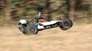 1/5th Petrol Baja Buggy Radio Controlled car first run. Multi cam compilation