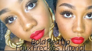 Bold Red Lip x Faux Freckles Makeup Tutorial