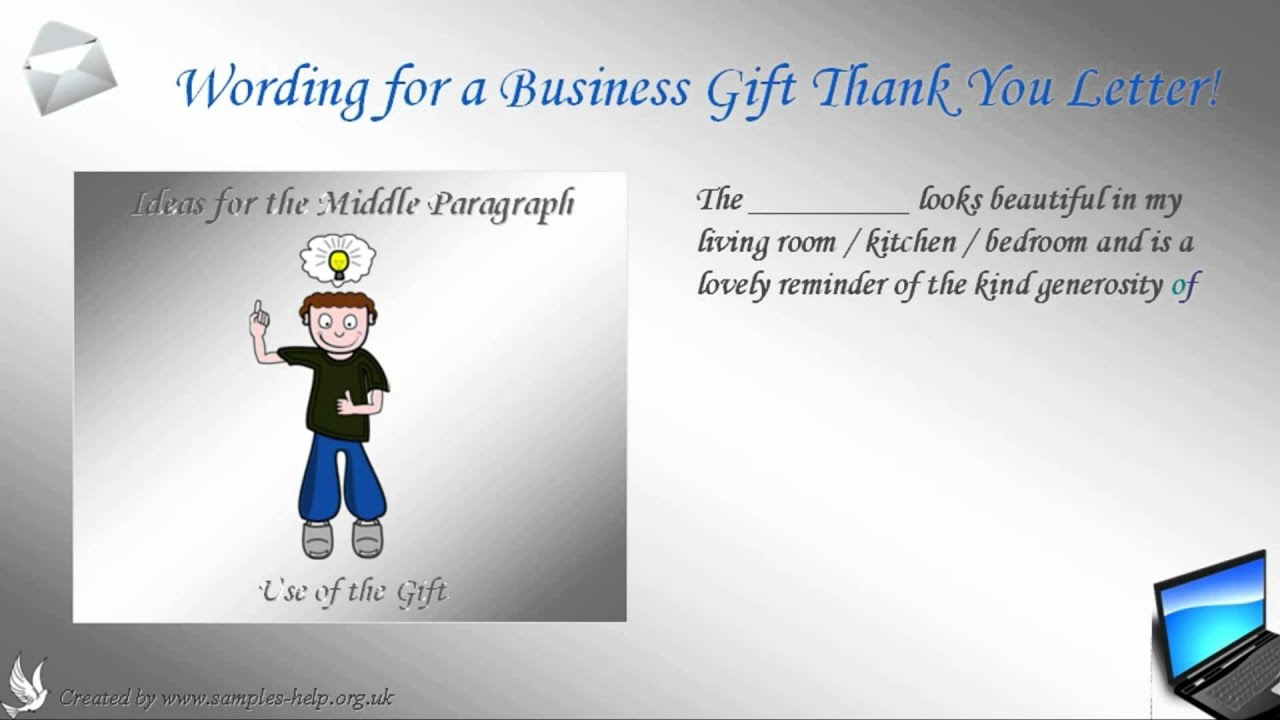 How to write a business gift thank you letter youtube how to write a business gift thank you letter expocarfo Image collections