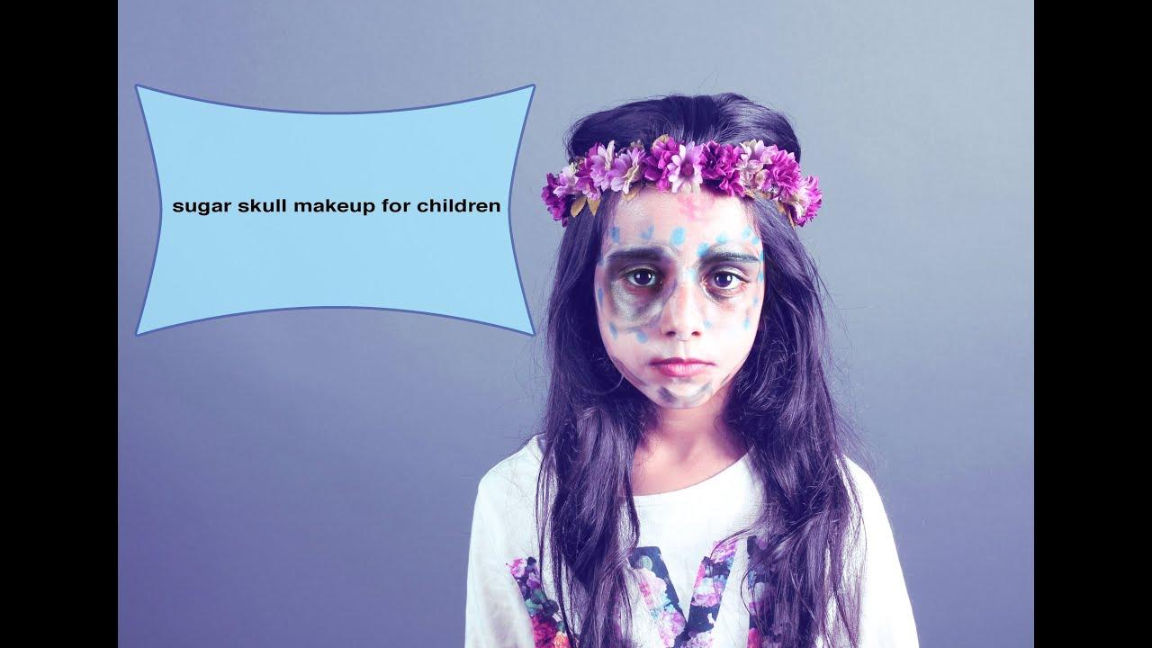 Sugar skull makeup for children   ريهام مشاء الله - YouTube