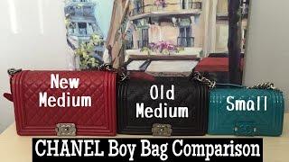 3 CHANEL Boy Bag Comparison    Small v. Old Med v. New Med 75dd63806a734