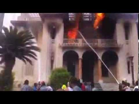 Fire fighters fight against the fire in the giza governorate building