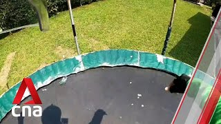 Singapore GrabFood rider jumps on customer's trampoline in viral video