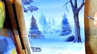 Как нарисовать зимний пейзаж гуашью поэтапно/How to Draw a Winter Scene