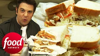 Adam Takes Down Three 1.5 Lbs Overstuffed Deli Sandwiches | Man v Food
