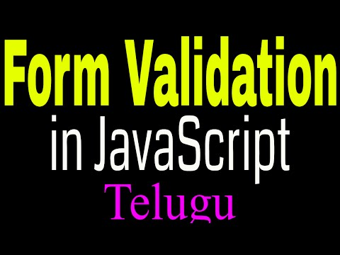 Form Validation In JavaScript Telugu Part1