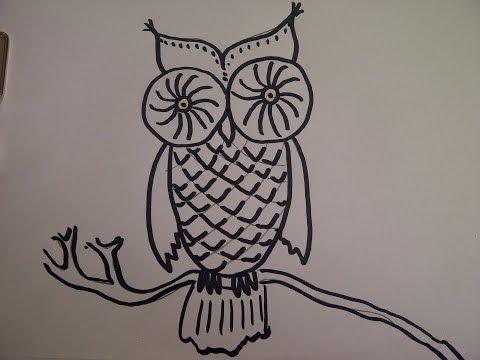 Eule zeichnen. Zeichnen lernen für Kinder. How To Draw An Owl for Kids
