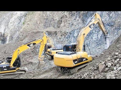 CAT 320D2 320D Excavator Working On Rocks Quarry