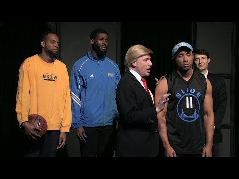 Trump Talks Sports With UCLA Basketball Players (sketch)