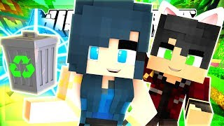 BUILDING WITH TRASH! MINECRAFT BUILD BATTLE CHALLENGE!!