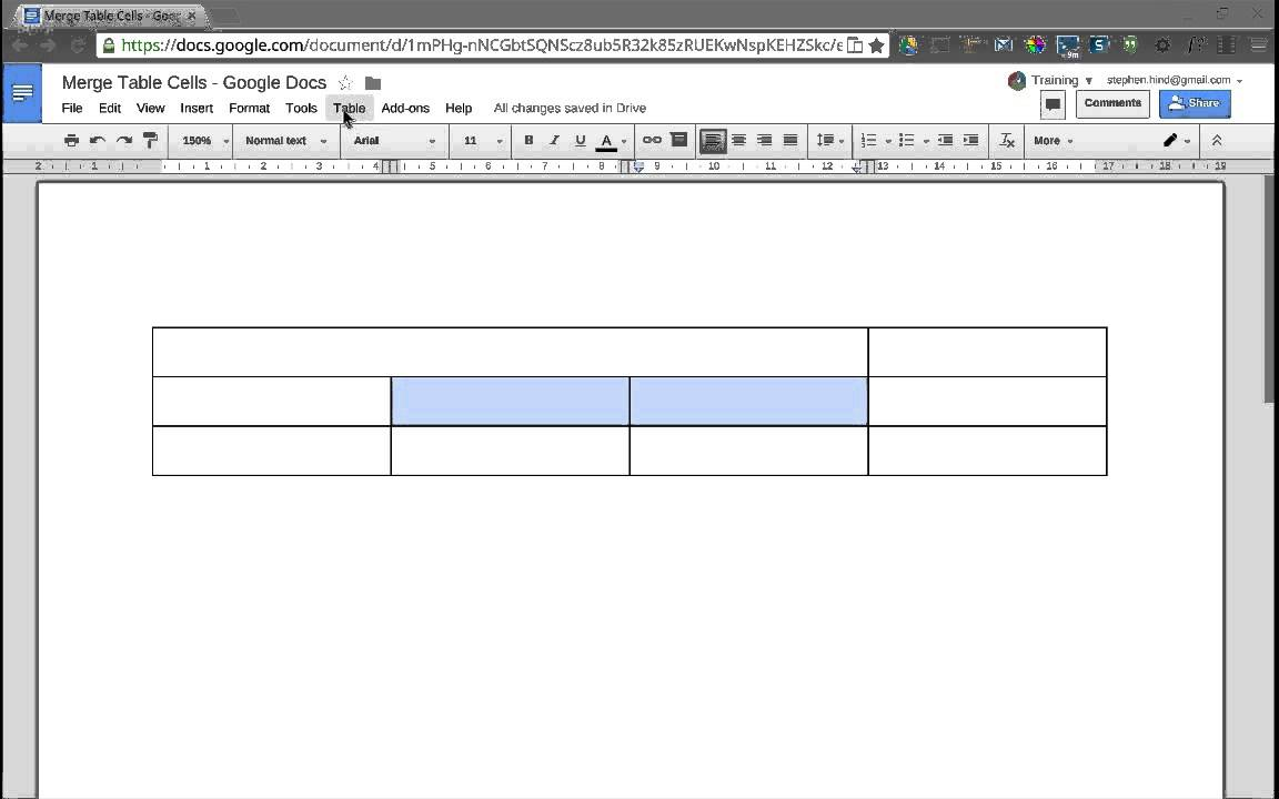 How to make a table with merged cells in excel complex for Google documents and data