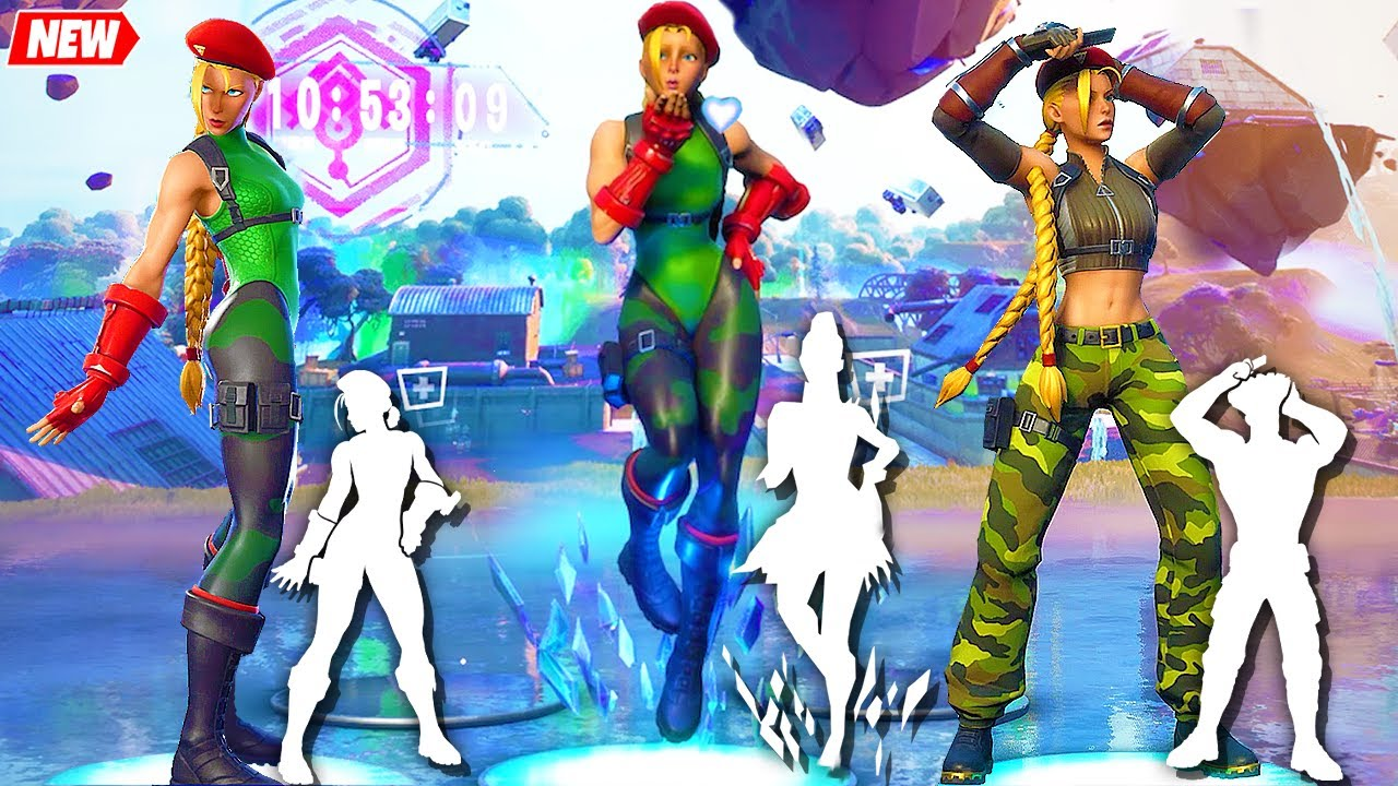 Fortnite Cammy Skin (by Street Fighter) doing all Built-In Emotes!..