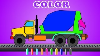 Learn colors with Cement mixer | kids truck videos | Cartoon about cars for kids