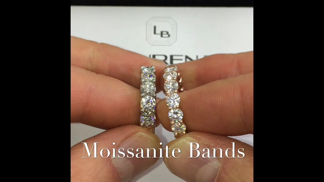 rose pin moissanite gold band eternity bands