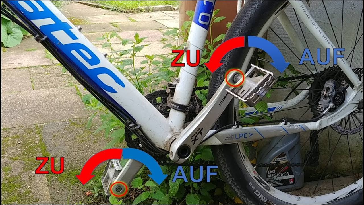 Fahrrad Pedal 🔺 ABmontieren GEGEN Tret-Richtung 🔻