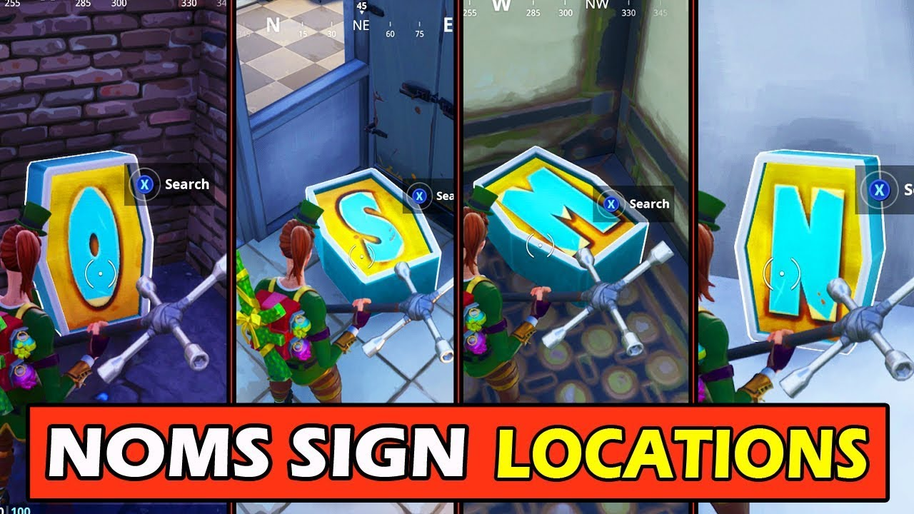 *ALL* NOMS SIGN LETTER LOCATIONS! Fortnite Search Letters