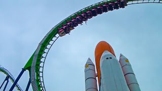 Space Shuttle Roller Coaster - Venus GP - Space World - Front Seat POV - Japan