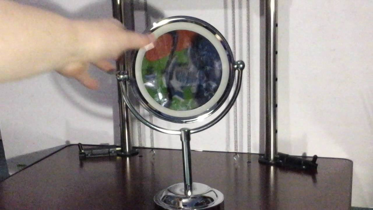 Double Sided Lighted Makeup Mirror Rusee Polished Chrome Finish 6 Inch Battery Operated And 3x Magn