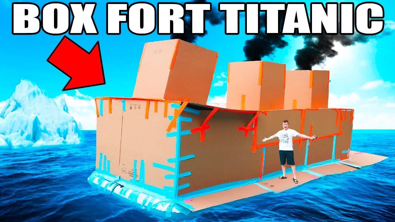 box fort titanic floating box fort challenge youtube