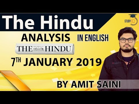 English 7 January 2019 - The Hindu Editorial News Paper Analysis [UPSC/SSC/IBPS] Current Affairs