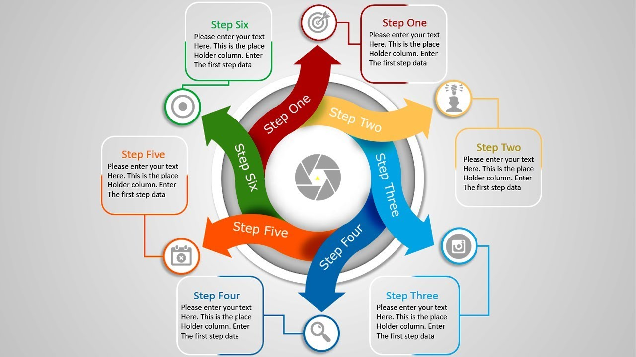 6 Step Arrow Circle Infographics Powerpoint Template