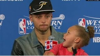 NBA star's daughter takes over press conference