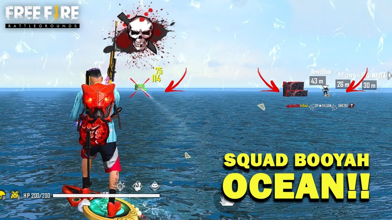OCEAN!! Ajjubhai Squad Booyah in Water   Play With Amitbhai, Munnabhai and TG Mafia   FF Highlights