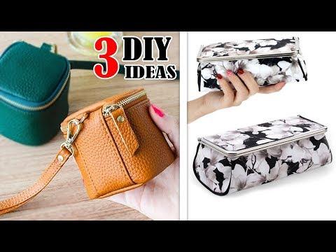 3 DIY LOVELY POUCH BAG TUTORIALS // Cute Coin Purse Bag HandBag Idea From Scratch