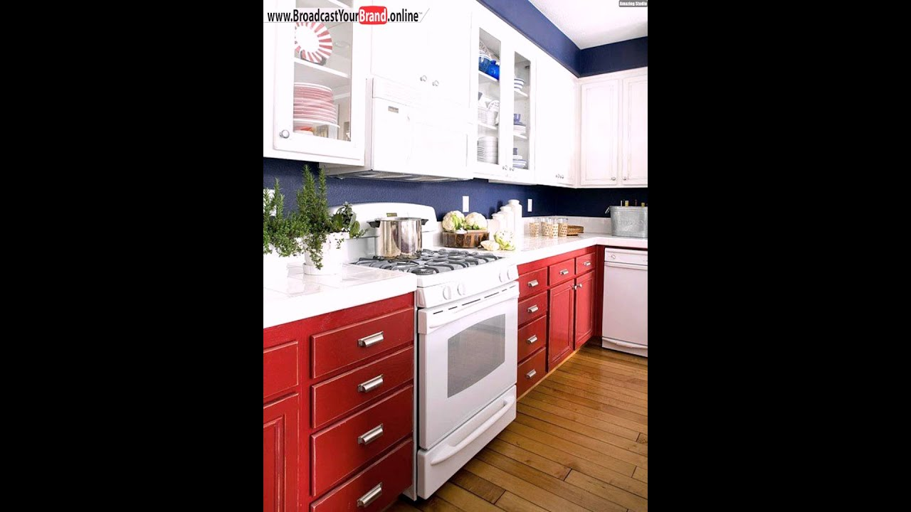 k che renovieren ideen rot blau wei e schr nke youtube. Black Bedroom Furniture Sets. Home Design Ideas