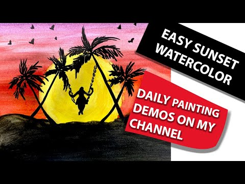 Easy sunset acrylic painting for beginners step by step | landscape painting