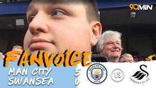 Man City trashes Swansea after winning the Premier League!   Man City 5-0 Swansea   90min Fanvoice