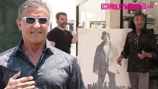 Sylvester Stallone Is Gifted A Painting Of Himself As Rocky Balboa In Beverly Hills 6.25.16