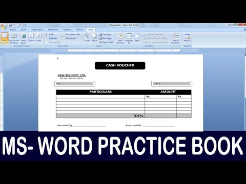 Exercise 11 Ms Word Practice Book How To Make Cash Voucher
