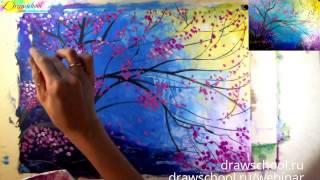 Как нарисовать сакуру красками (масло, акрил, гуашь). Пошаговый урок(В этом уроке по рисованию художник покажет вам как просто и красиво нарисовать стилизованную ветку сакуры..., 2016-03-09T08:08:57.000Z)