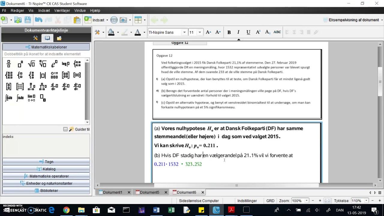 TINspire: hypotesetest del 2. Forventet værdi