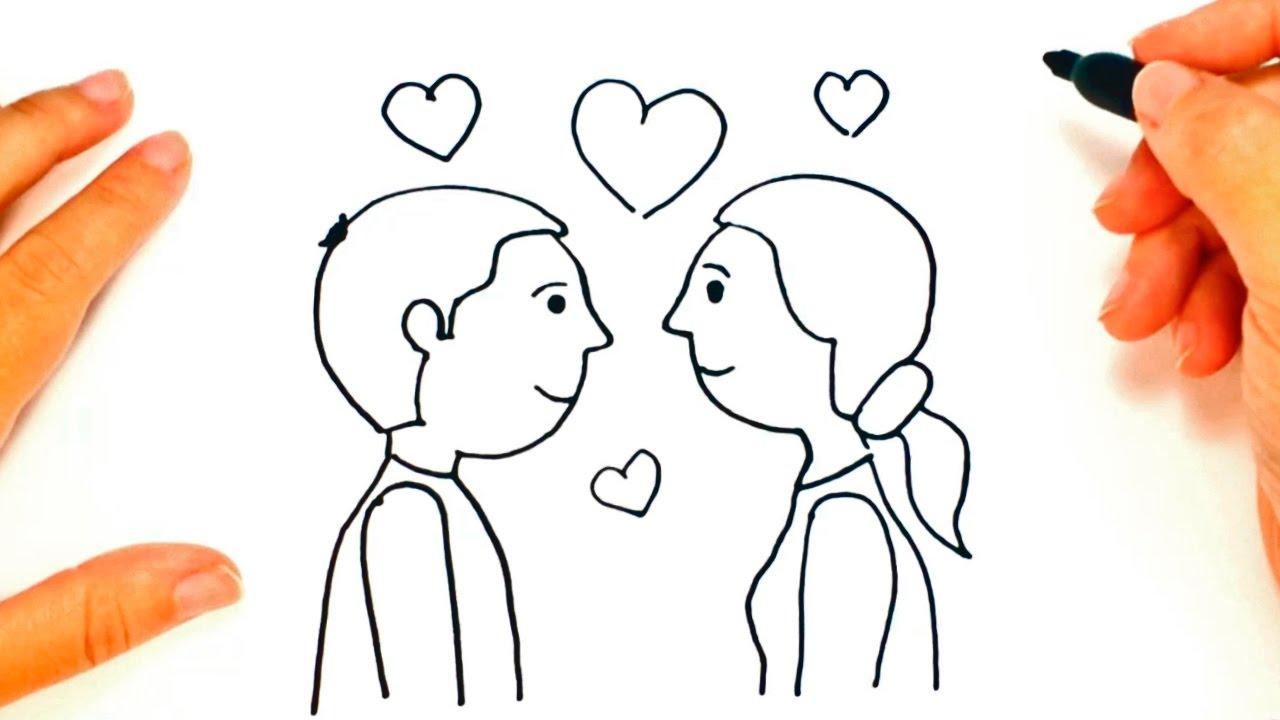 Cómo Dibujar Una Pareja De Enamorados Paso A Paso Dibujo Fácil De