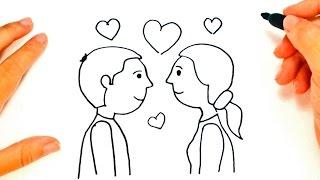 Cómo dibujar una Pareja de Enamorados paso a paso   Dibujo fácil de Pareja de Enamorados