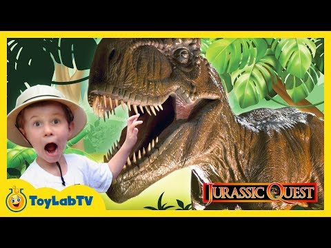 Thumbnail: GIANT LIFE SIZE DINOSAURS Jurassic Quest Family Fun Amusement Park & Surprise Toy Opening Kids Video