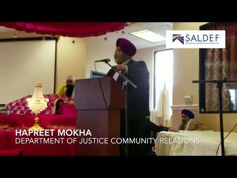 Harpreet Singh Mokha Department of Justice Community Relations Speaking
