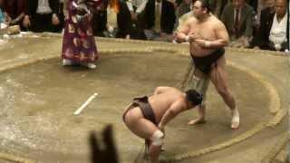 20120923 大相撲秋場所千秋楽 安美錦vs妙義龍.