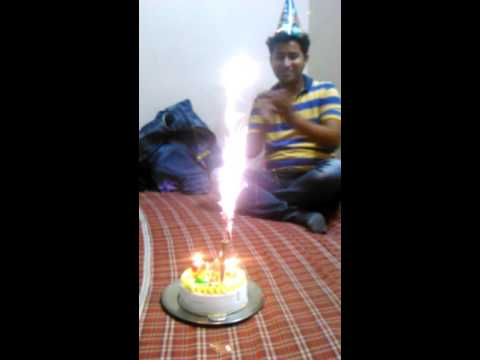 Birthday Party With Candles with Crackers in Cake