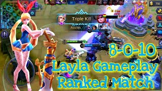 Mobile Legends |::| Bunny Girl Layla 8-0-10 Ranked Gameplay