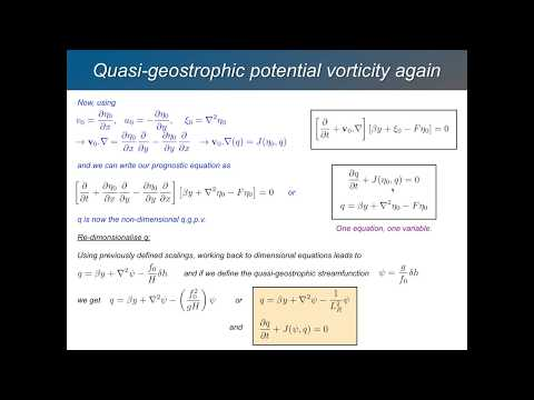 GFD 2.3 - Quasi Geostrophic Theory II - Expansion in small Rossby number