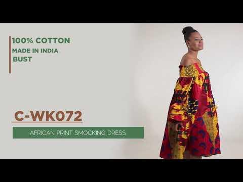 African Print Multi-Strip Smocking Dress