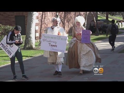 Demonstrators Take To UCLA, Protest Talk By Treasury Secretary Steve Mnuchin